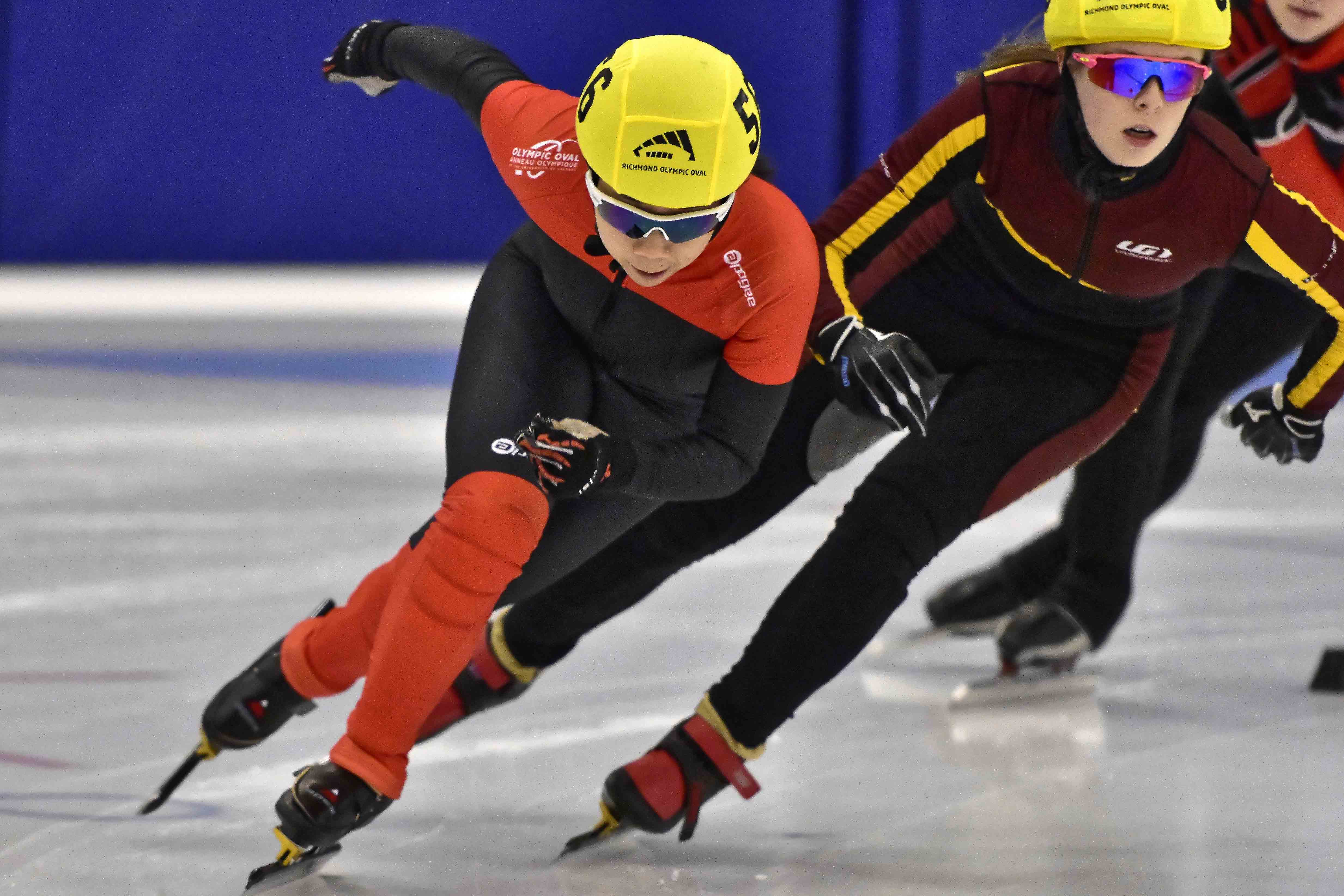Brittany Yuen in a speed skating competition.