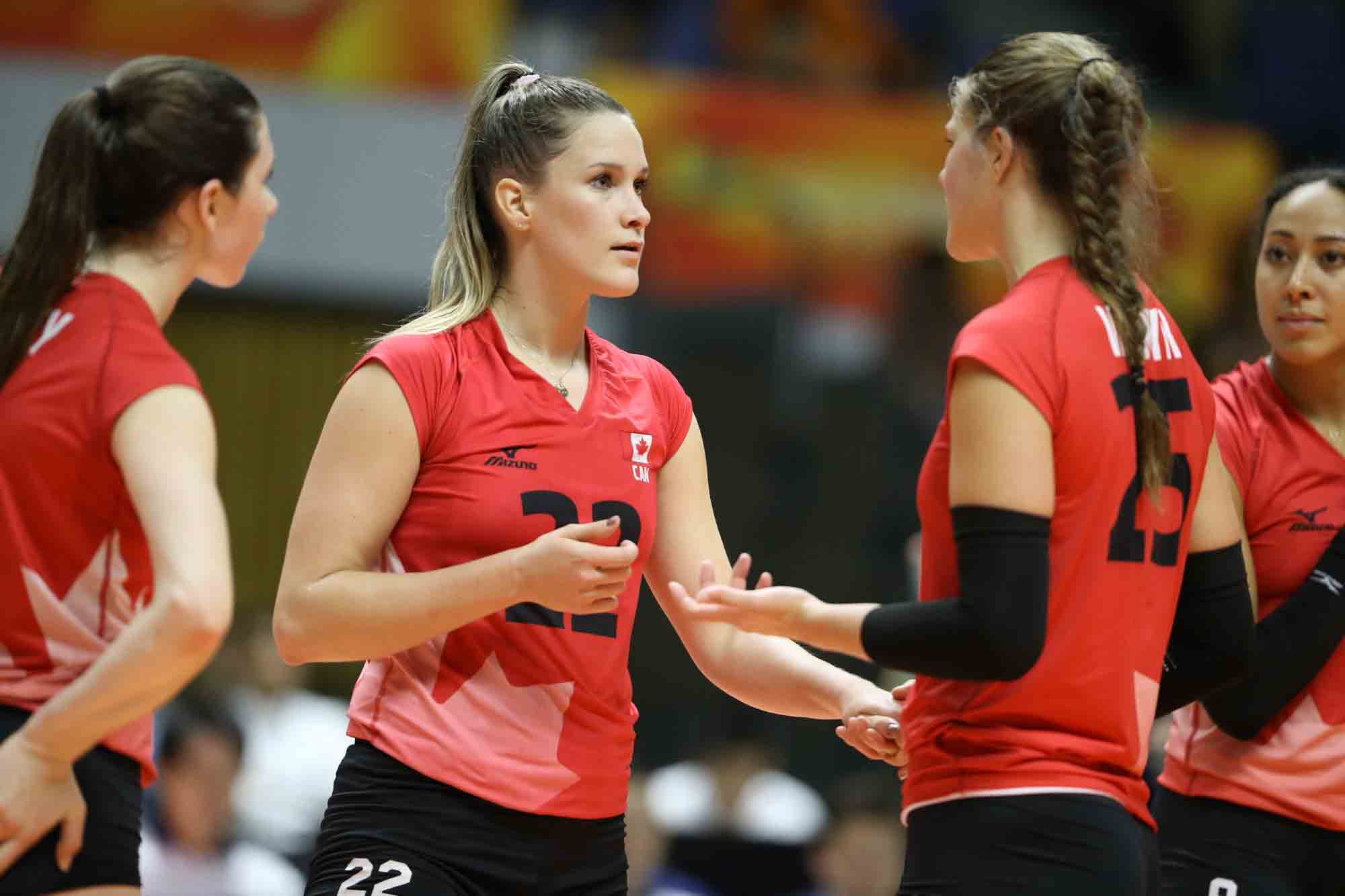 Megan Cyr encouraging her teammates.